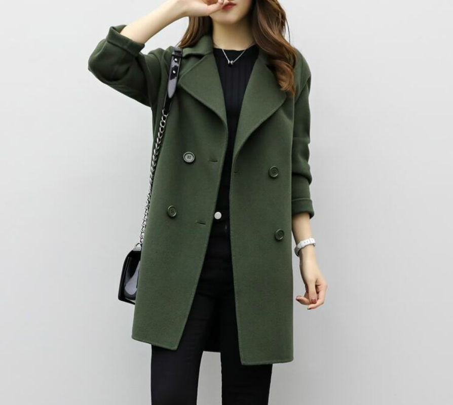 Women Woolen Coat 2019 Autumn Winter New Double-breasted Long Sleeve Loose Coats Turn-Down Collar Outwear Plus Size CA3107