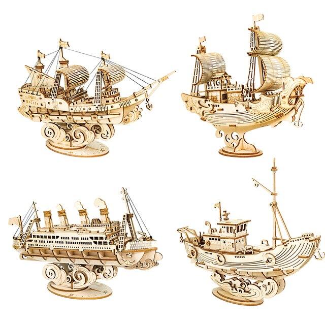 Robotime 3D Wooden Puzzle Games Boat & Ship Model Toys For Children Kids Girls Birthday Gift 1