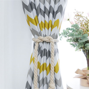Image 3 - Topfinel Geometric Wave Blackout Curtains For Living Room Modern Printed Yellow Blue Window Treatment Drapes Bedroom Curtains