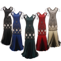 Anself Floor Length Dress Vintage Women Sequins Maxi Dress Beaded Flapper 1920s Gatsby Club Party Floor Length Dresses DT1309