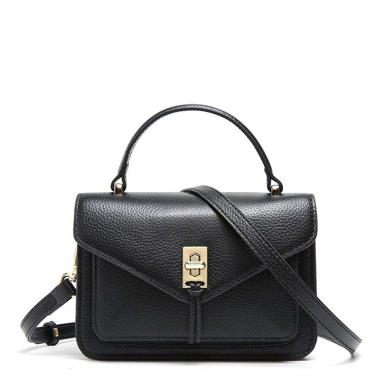 Роскошная дизайнерская Вместительная женская сумка из 100% натуральной кожи, простая маленькая сумка с клапаном, цвет черный, розовый, Высоко... - 6