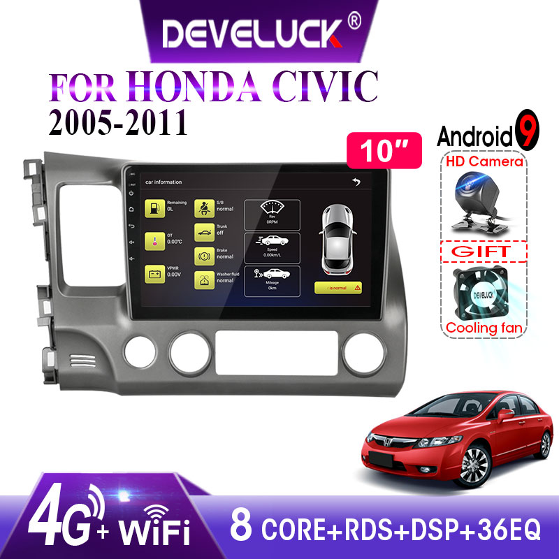 Android 9.0 8-core Car Radio For Honda <font><b>Civic</b></font> 2005-2011 4G 2.5D Screen 2din stereo RDS DSP+48EQ GPS Navigation Multimedia Player image
