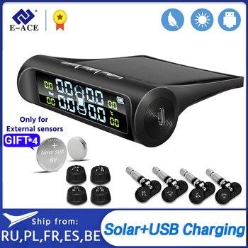 E-ACE TPMS Tire Pressure Alarm Sensor Smart Security Monitor System Car Digital Display Solar Power Charging Temperature Warning