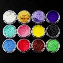 12 шт смешанные цвета красящие пигменты слюда жемчужная пудра для DIY дизайн ногтей ремесло проекты слизи делая поставки