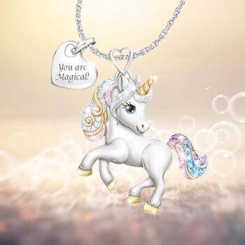 2020 радужные ожерелья с единорогом для женщин и девочек милые подарки с животными для детей Kawaii модные ювелирные изделия цвета белого золота Креативный дизайн