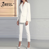 INDRESSME 2019 Fashion O Neck Sexy Short Top Long Pant Suits Set With Button Tassel Formal Women Elegant Bandage 2 Pieces Sets