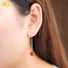 Hutang Fashion Stone 8mm Red Aventurine Earrings 925 Silver Elegant Trendy Fine Jewellry for Women Best Friend Gift