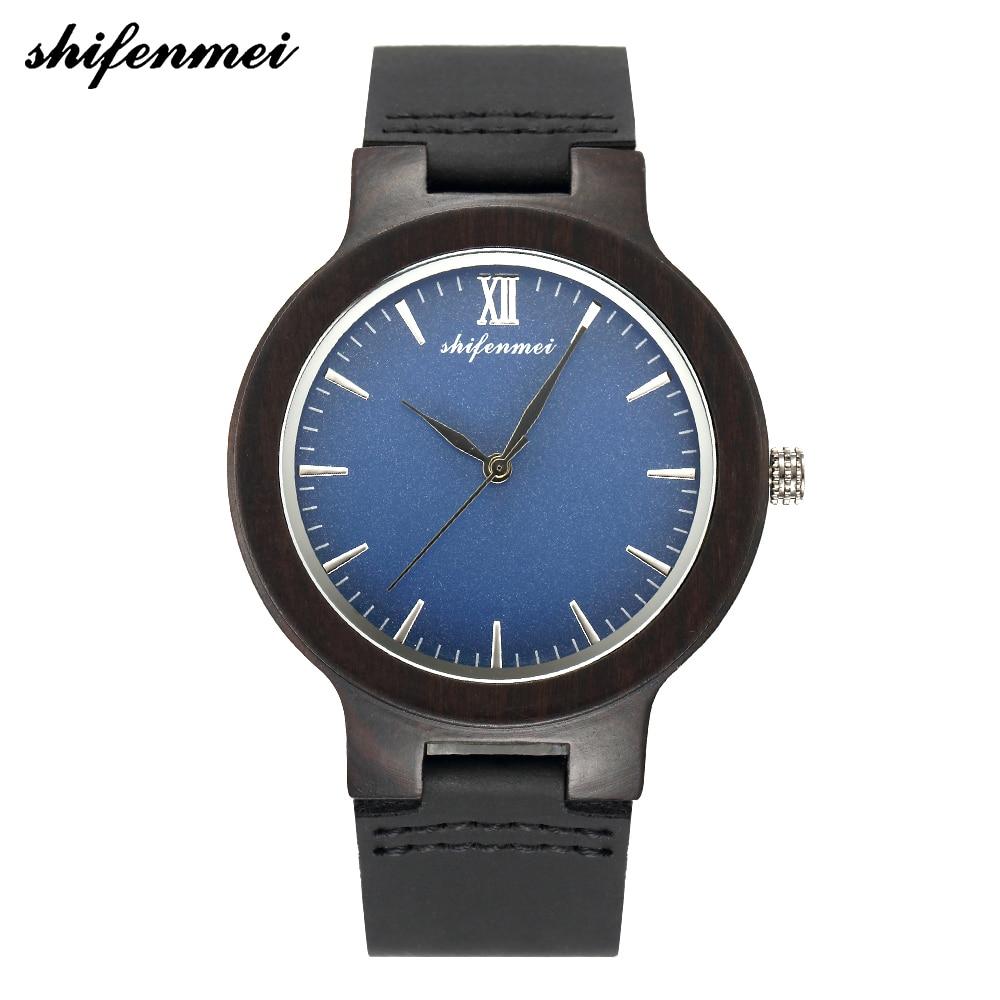 Shifenmei Watches Men Luxury Brand Natural Wooden Clock Casual Leather Wood Quartz Wristwatch Fashion Gifts Dress Watch 5512