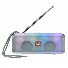 Tg144 alto falante bluetooth e fm raido luz led portátil, sem fio, com antena ajustável, sinal forte, alto falante fm
