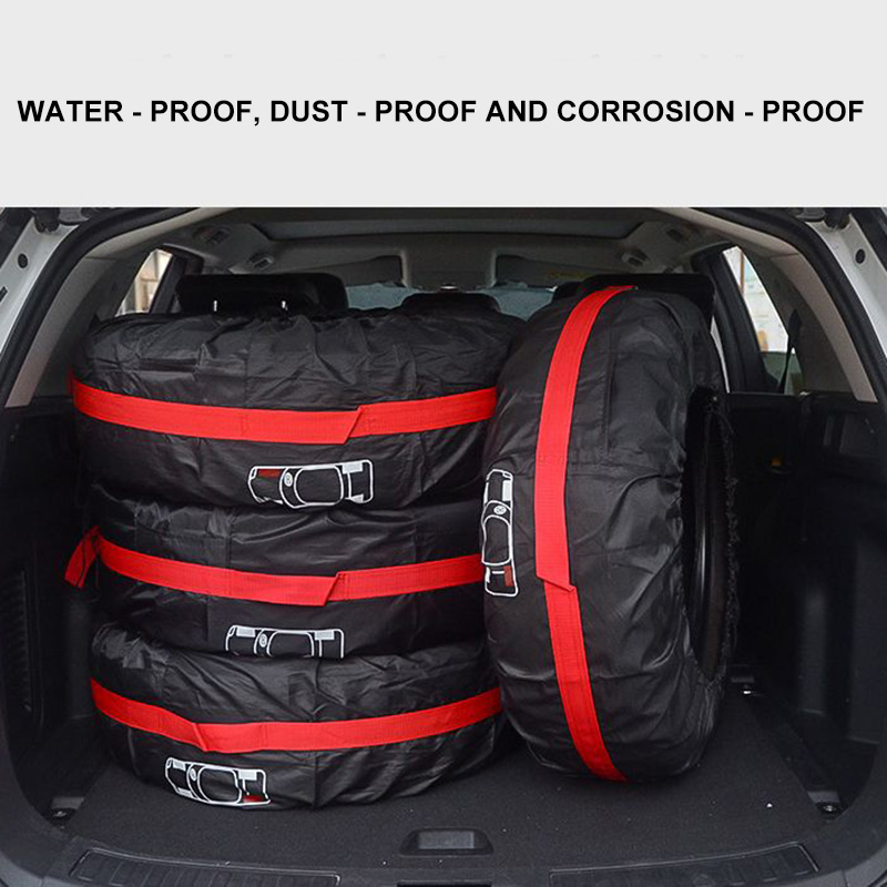 AOZBZ New 4Pcs Spare Tire Cover Car Tire Storage Bags Case Polyester Auto Tyre Accessories Portable Vehicle Wheel Protector