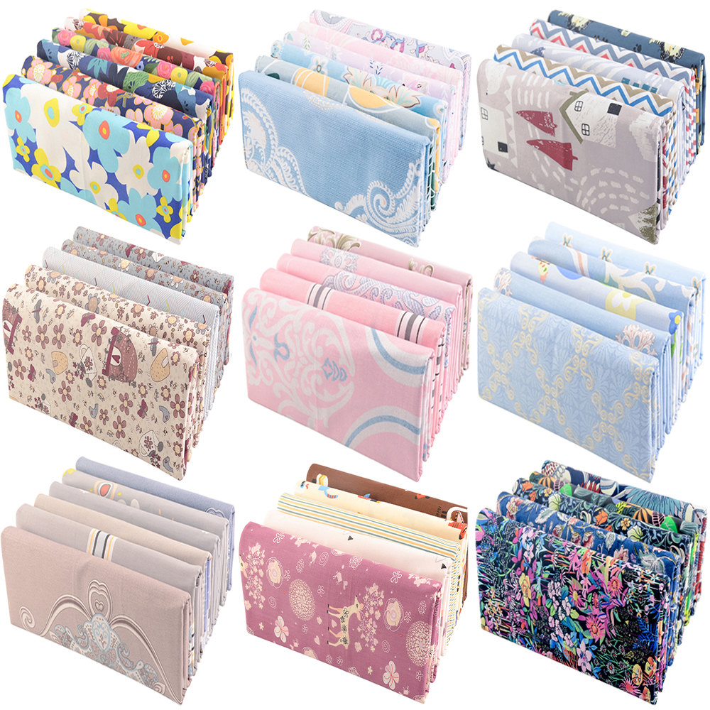 Teramila 5 PCS/Pack New Europe and America Printed Cotton Cloth For Needlework Patchwork Sewing DIY Handicraft Quilting Fabric