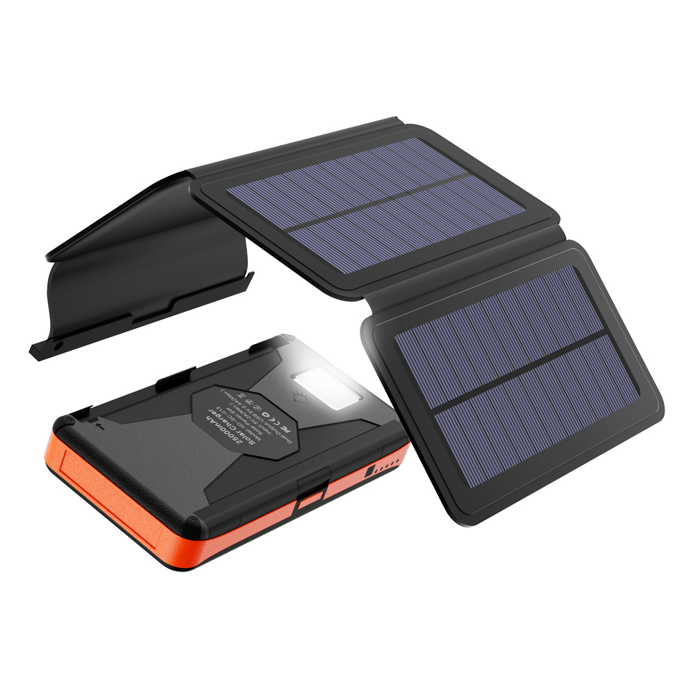 Waterproof Detachable Power Bank with Solar Panels