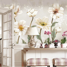 3D Simple Custom Retro Nostalgic Pastoral Wallpaper Country Hand Painted Floral Background Bedroom Kitchen Living Room Sticker