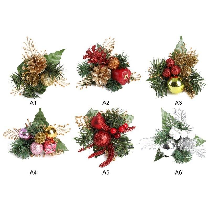 Artificial Pine Leaves Christmas DIY Wreath Garland Decorations 6pcs Fake Plants