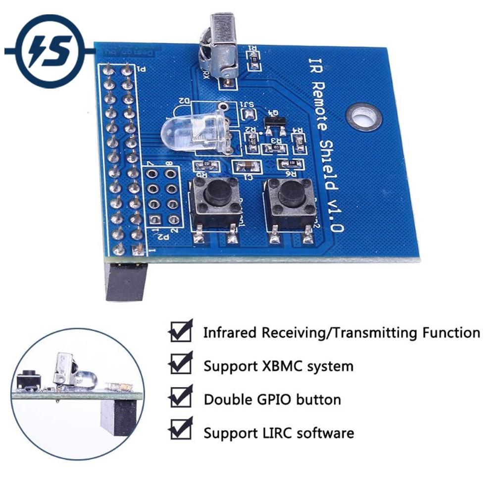 Placa de expansión de sombrero remoto infrarrojo transmisor IR escudo transceptor 38KHz para Raspberry Pi RPi B +/2B/3B