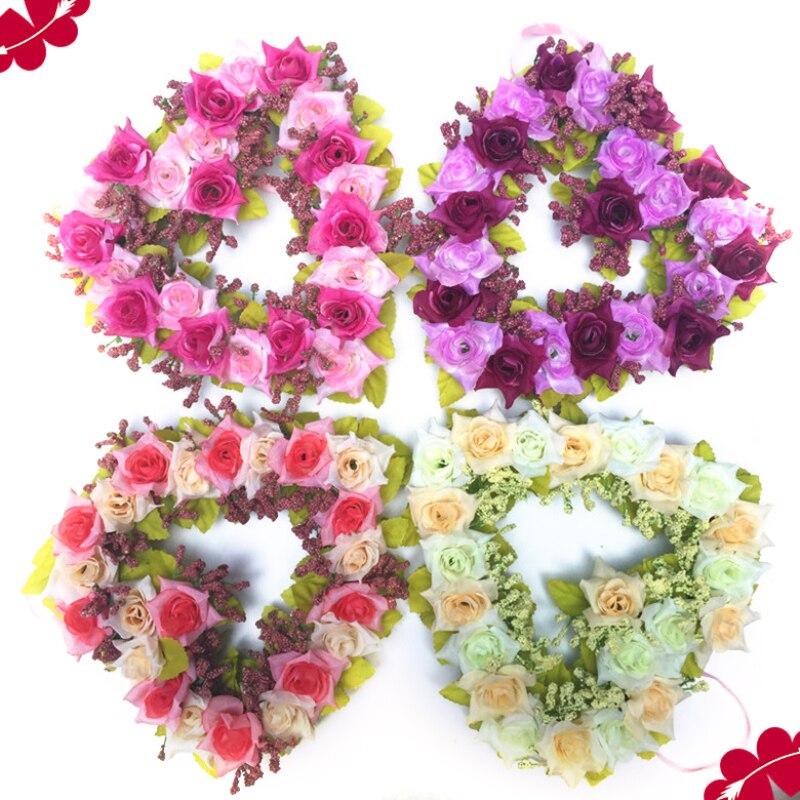 Artificial Rose Flower Heart-shaped Flower Garland Romantic Wedding Decorative Silk Garlands Flower Wreaths For Wedding Party