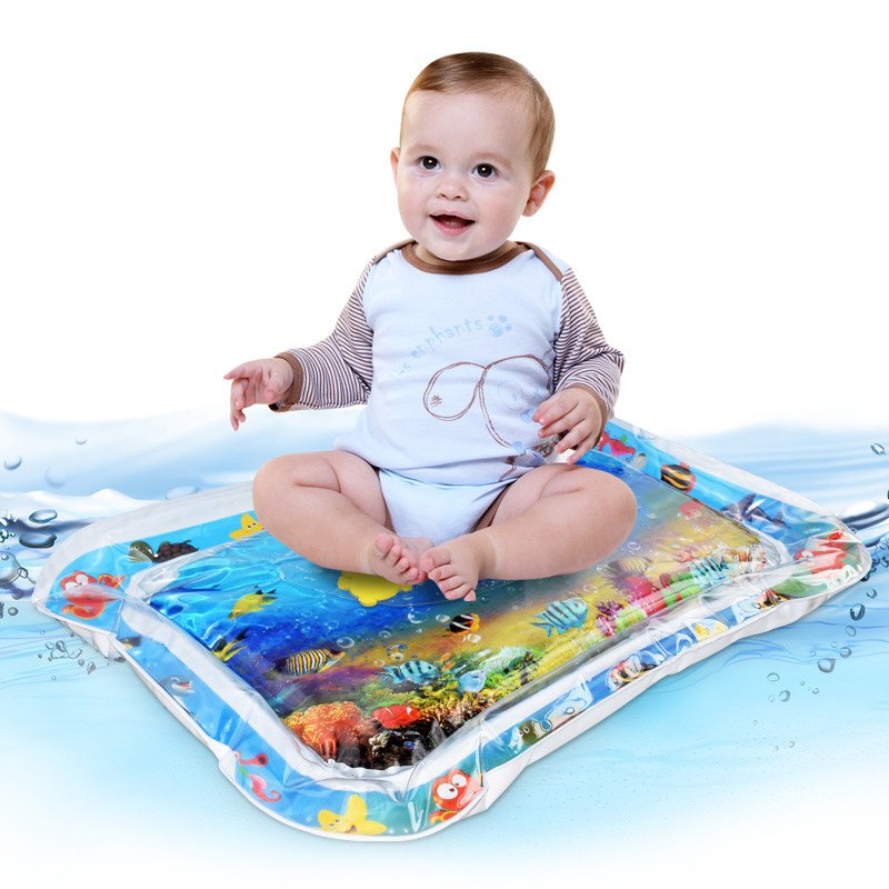 Baby Kids Water Play Mat Inflatable PVC Infant Tummy Time Playmat Toddler Water Pad For Baby Fun Activity Play Center