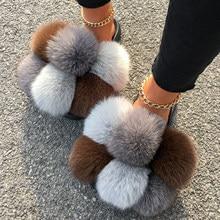 Pantoufles en fourrure de raton laveur et renard véritable, tongs en peluche, sandales plates d'été, chaussures de maison pour femmes