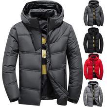 2019 mens winter parkas Solid Color Zipper Men Casual Hooded Parka