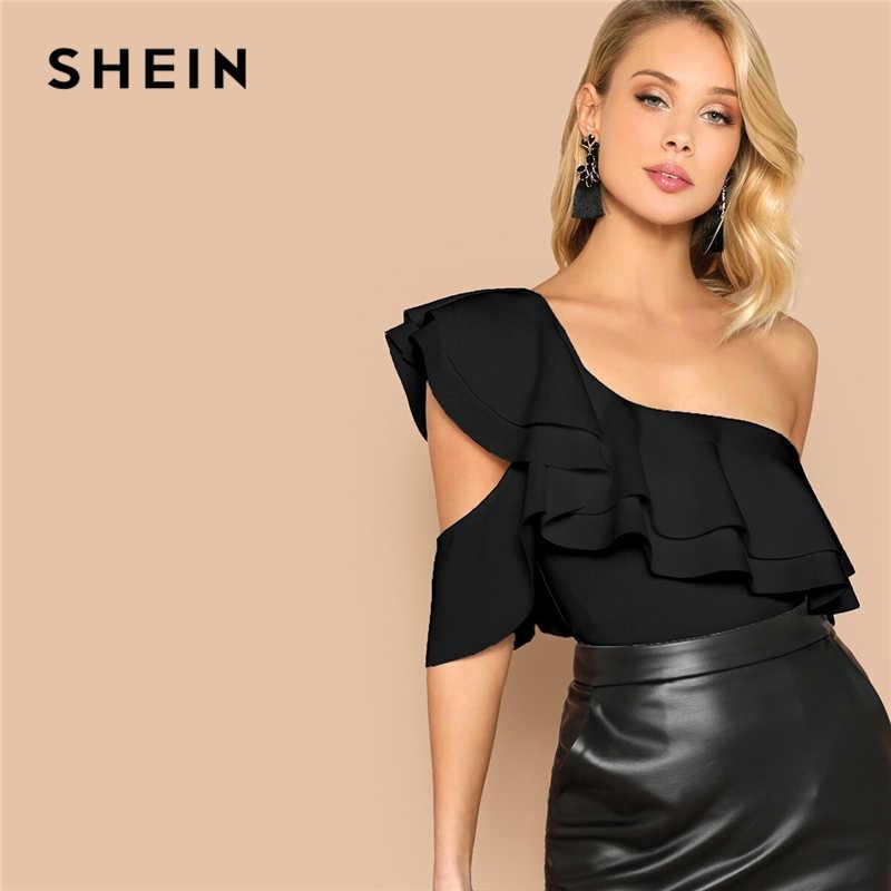 SHEIN Sexy Gelaagde Ruffle Een Schouder Mid Taille Skinny Backless Bodysuit Vrouwen Zomer Korte Mouw Solid Club Bodysuits