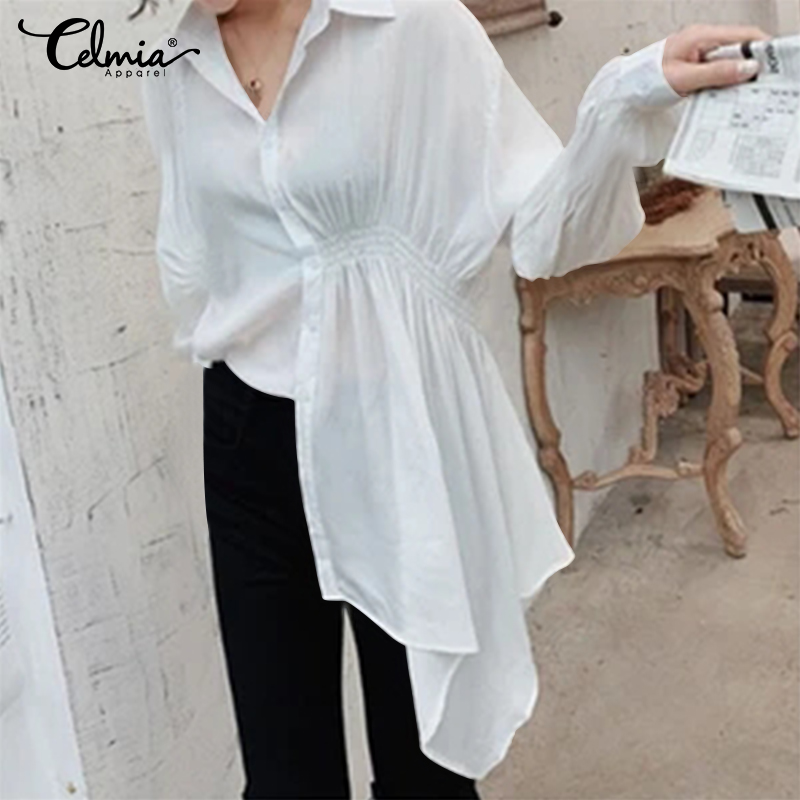 2020 Celmia Spring Women Casual Blouses Long Sleeve Ruffled Shirts Buttons Solid Work Blusas Femininas Asymmetric Tops Plus Size