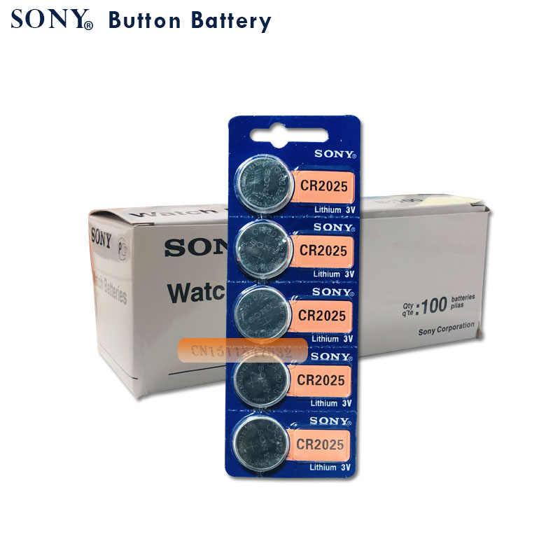 5 Cái/lốc Chính Hãng Sony CR2025 Tế Bào Nút Pin CR2025 Lithium 3V Đồng Xu Pin Cho Đồng Hồ Máy Tính Trọng Lượng Quy Mô