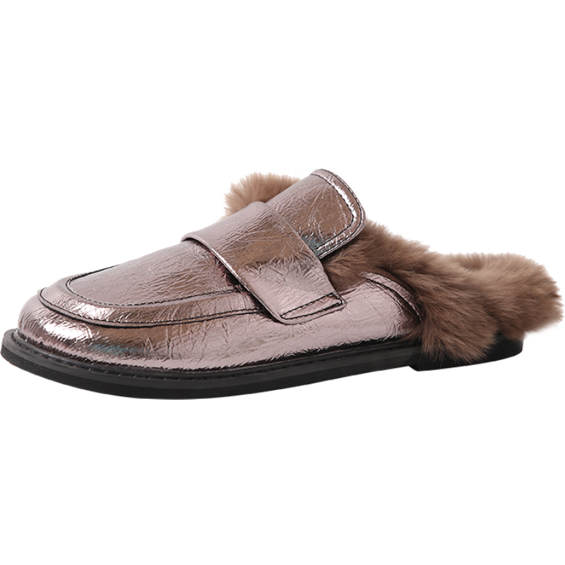 Cover Toe Female Shoes Loafers Womens Slippers Outdoor Mules Sexy Platform Slides Fur Flip Flops 2019 Soft Flat Plush PU with 22