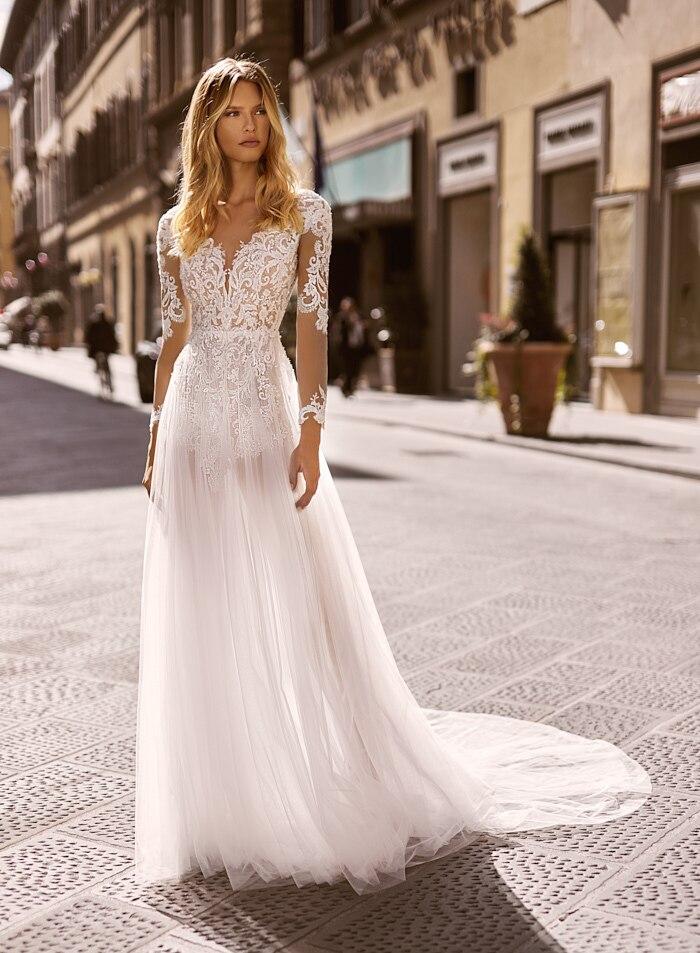 suknia slubna New Design Long Wedding Dress 2021 Sheer Neck Long Sleeves A-Line Lace Chiffon Backless Bride Dresses Vestidos