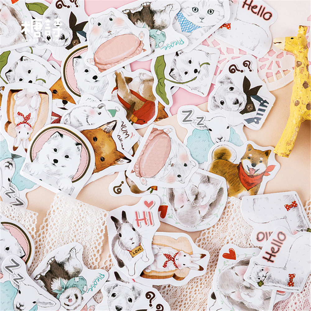 45 Pcs/box Cute cartoon stickers dog pet paper  decoration DIY diary scrapbooking planner label