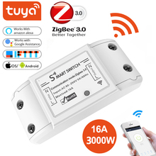 Tuya Zigbee 3.0 On/Off Controller 16A 4000W Smart Switch APP Remote Control Smart Home Module AC 90 265V