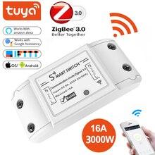 Tuya zigbee controlador 3.0 on/off, interruptor inteligente 16a 4000w, app, controle remoto, módulo de casa inteligente ac 90 265v