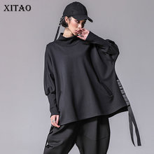 XITAO Bandage Women T Shirts Plus Size Casual Batwing Sleeve Turtleneck Split Streetwear Women Clothes Korean 2019 New XWW2955