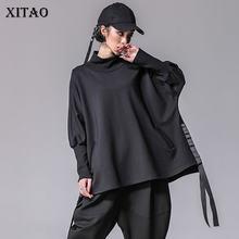 XITAO-camisetas Bandage de talla grande para mujer, ropa informal de manga de murciélago, ropa de calle dividida con cuello de tortuga, moda coreana, XWW2955, 2019
