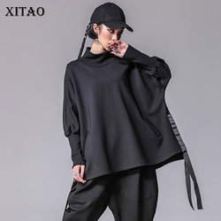 XITAO Bandage Women T Shirts Plus Size Casual Batwing Sleeve Turtleneck Split Streetwear Women Clothes Korean 2019 New XWW2955