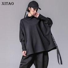 XITAO bandaż kobiety t shirty Plus rozmiar Casual rękaw w kształcie skrzydła nietoperza golfem podział Streetwear kobiety ubrania koreański 2019 nowy XWW2955