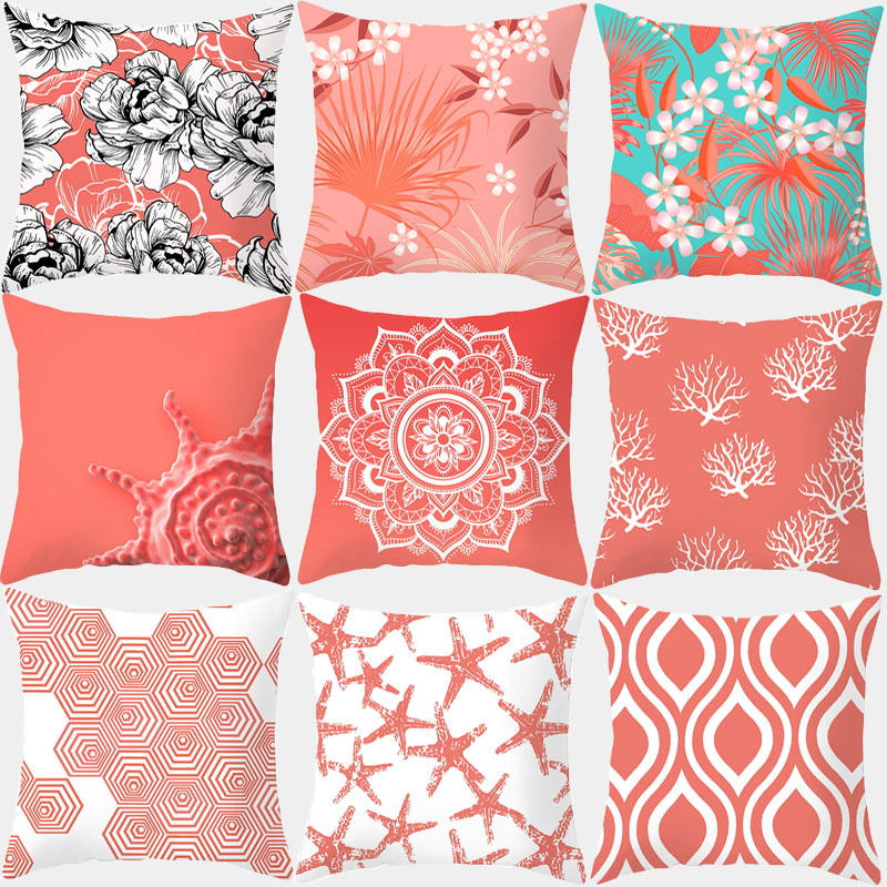 Pink Living Coral Orange Pillow Polyester Cushion Cover Starfish Stripe Print Still Pillow Sofa Pillow Home Decoration 10302
