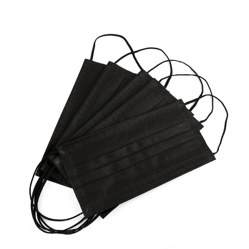 Free-shipping-Black-3-layer-Mask-10-20-50-100pcs-Face-Mouth-Masks-Melt-Blown-Cloth (3)