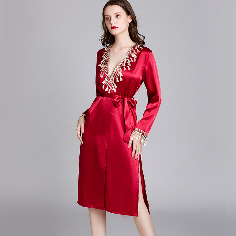 Yao Ting Pajamas Women's Spring And Summer Silk Long Sleeve Women's Robes Women's Mid-length Morning Gowns Bride Gown Bathrobe T