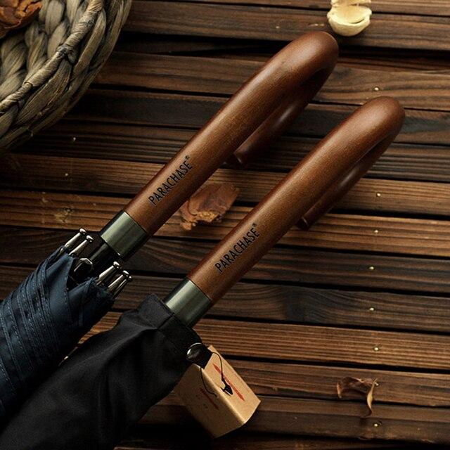 חדש הגעה יפני מותג ארוך מטריית 8K Windproof עץ ידית גדול גברים מטריות גשם איכות קלאסי עסקים Paraguas