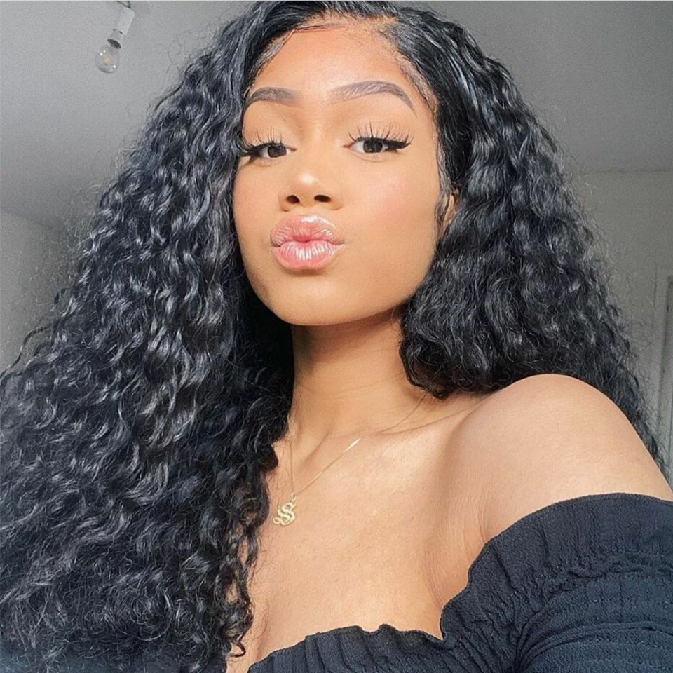 Lovely Queen Remy Hair Lace Frontal Human Hair Wigs 13x4 Deep Wave Human Hair Wigs Pre Plucked With Baby Hair For Black Women