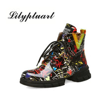 2019 British style graffiti thick with newspaper pattern personality short boots with students large size Martin boots women