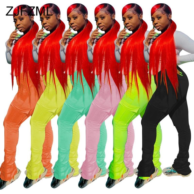 Néon vert jaune taille haute pantalon empilé femmes cordon élastique pantalon de survêtement froncé Hip Hop cloche bas Flare Legging pantalon
