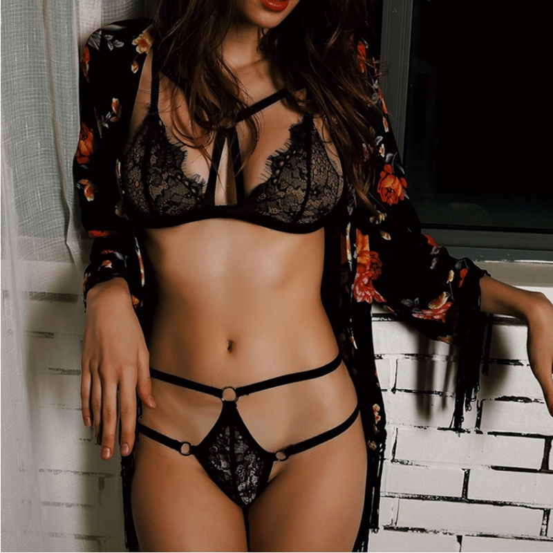 Sexy Lingerie Lace Floral Hollow Bandage G-string Thong Push Up Bra Bra Set Babydoll Sleepwear Underwear Nightwear
