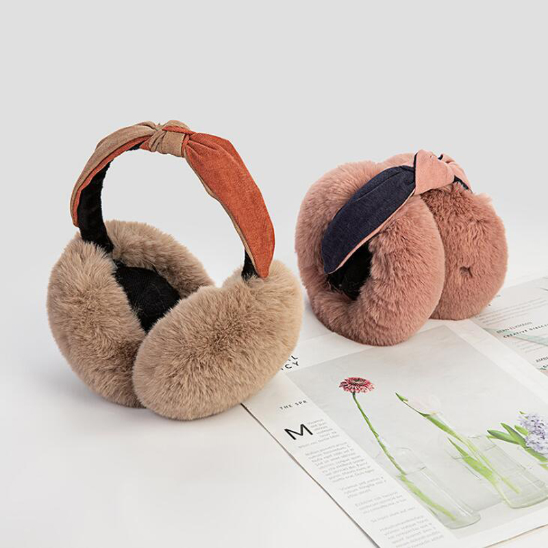 Warm Plush  Protection Earmuffs Cute Plush Bow Ears Winter Cute Ears Bow Earmuffs Female Anti-freeze Ear