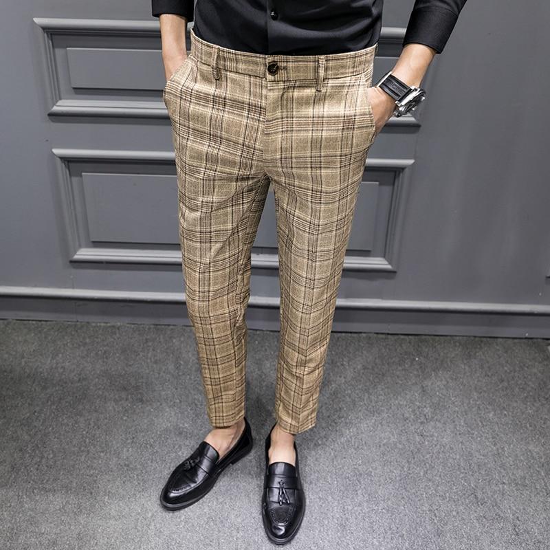 YASUGUOJI British Style Dress Suit Pant Man 2020 New Plaid Suit Pant Men Designer Gentlemen Business Casual Work Pant Trousers