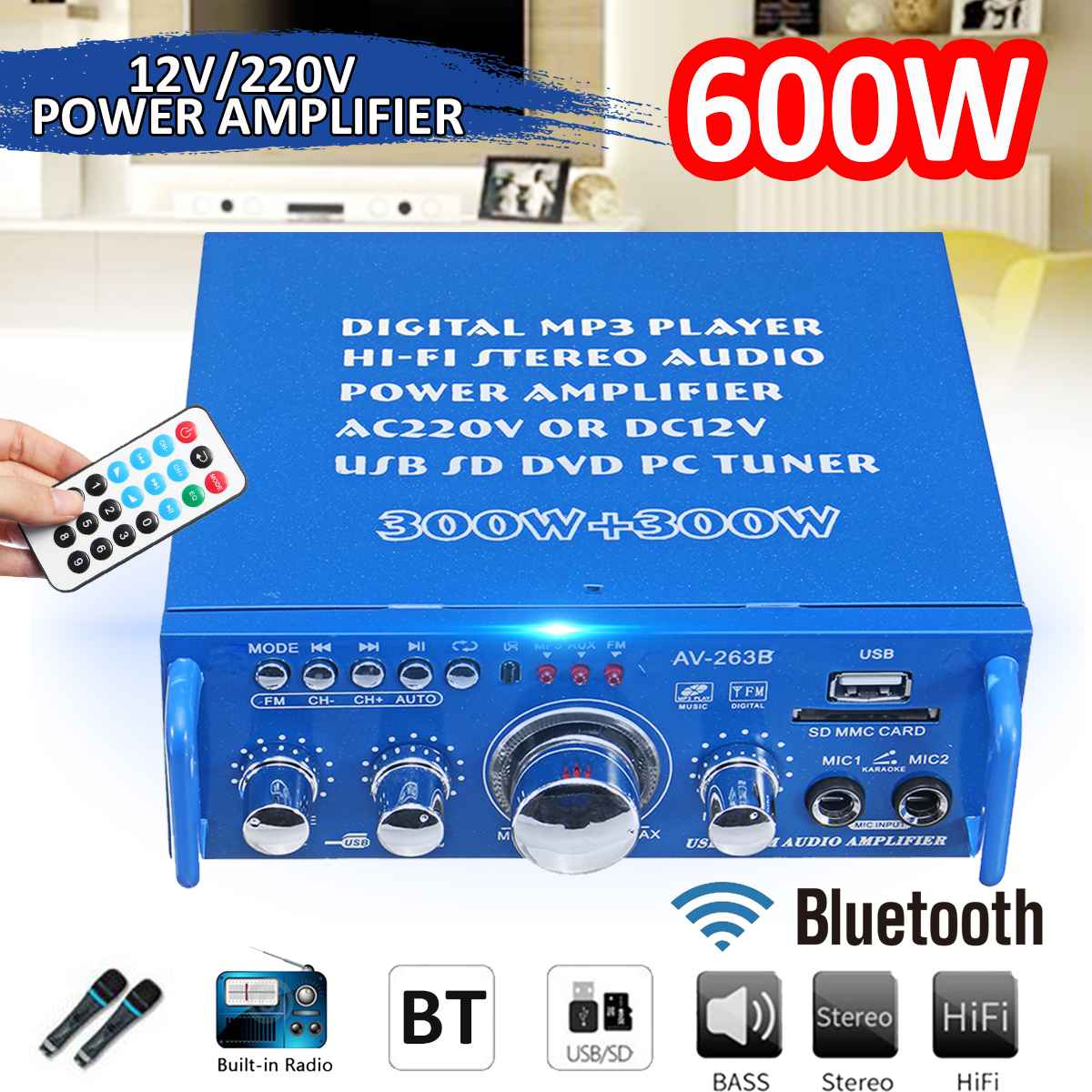 12V/220V 600W 2CH Car Home Power Amplifier Audio HIFI Theater Sound System FM Stereo Radio Bluetooth Mini Amplifiers