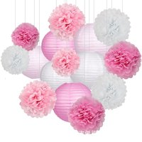 15pcs paper flower ball and paper Lantern Wedding decoration paper flower ball for birthday party chinese lantern traditional
