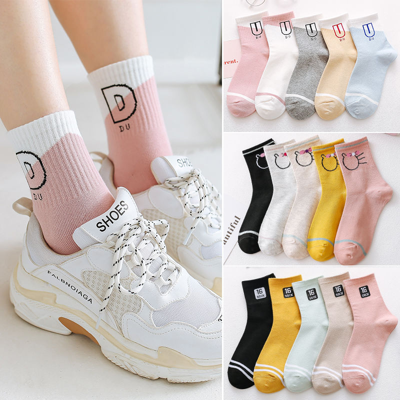 Носки женские Woman's Socks Average Size 90% Polyester 5 Or10pcs/lot Socks 2019Female Print Fashion Socks Multi-color Available