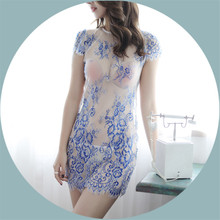 Mysterious Palace Blue and White Porcelain Lace Hollow Cheongsam Chinese Vintage Slim  Bodycon Dress Print Mini Dress Nightdress tribal print open back mini bodycon dress