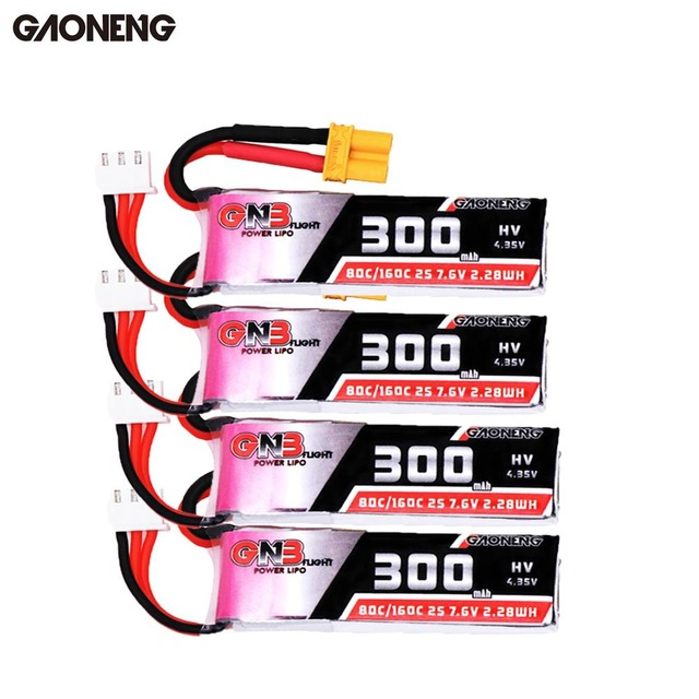2/4PCS Gaoneng 7.6V 300mAh 80C/160C <font><b>2S</b></font> HV 4.35V XT30 Lipo <font><b>Battery</b></font> for Micro RC FPV Racing Cine Whoop BetaFPV Drone Quadcoper image